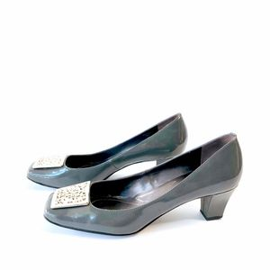 Tahari wicked square toe grey silver cut out 9